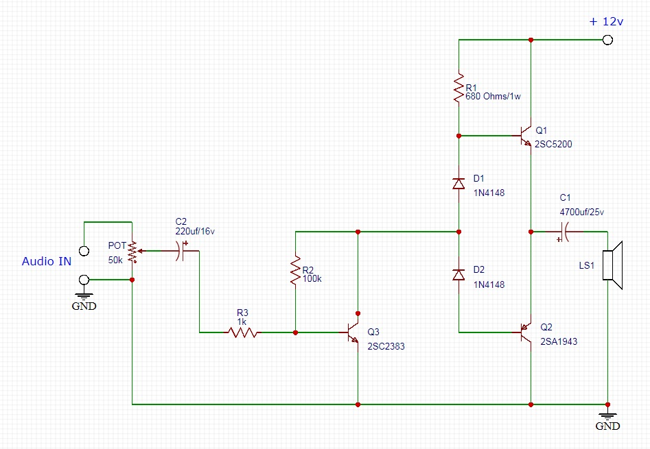 DIY C5200 A1943 Amplifier Circuit Diagram
