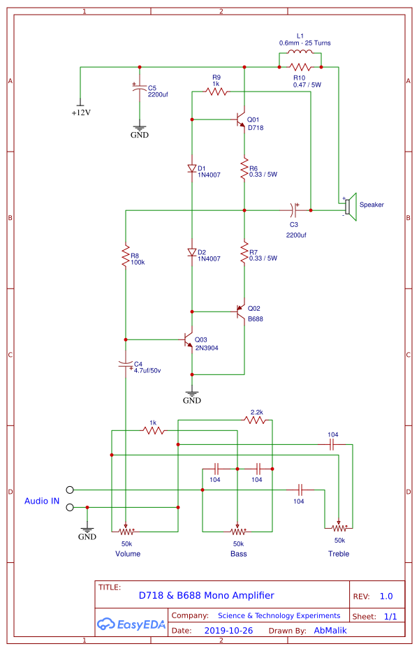 D718 B688 Powerful Amplifier Circuit Diagram