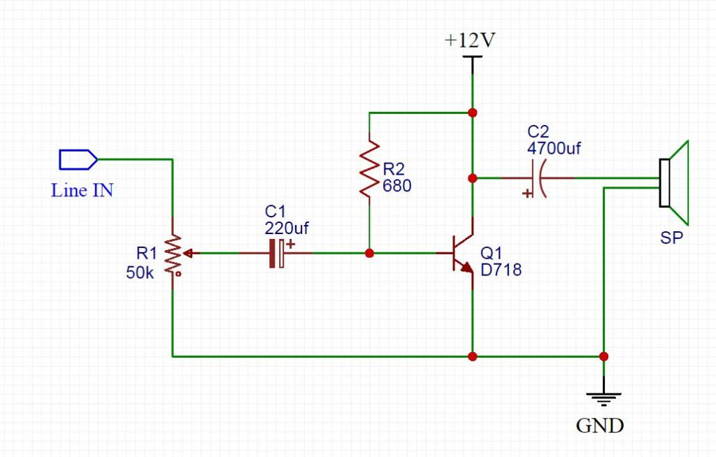 D718 Amplifier Heavy Bass Circuit Diagram
