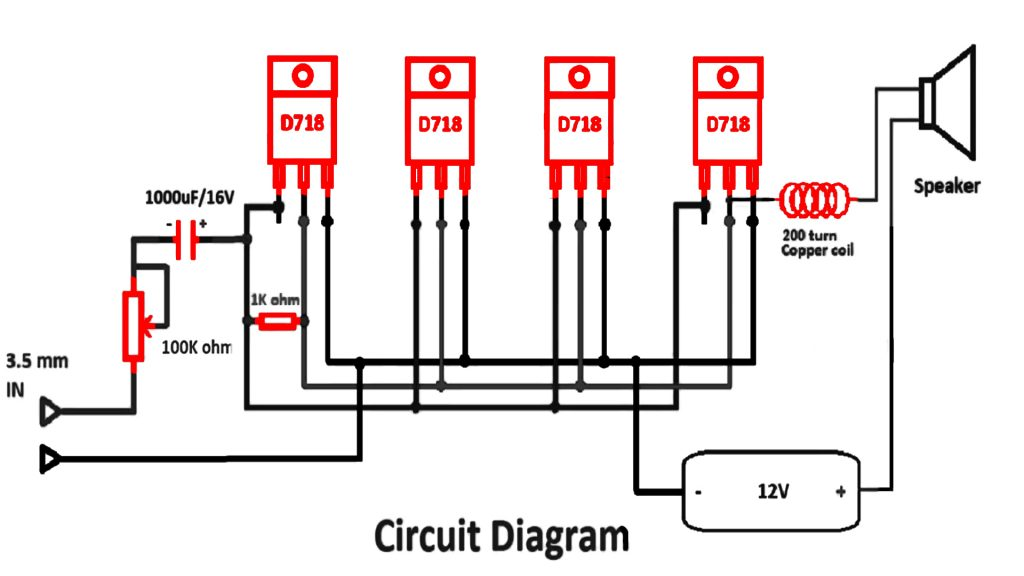 DIY Homemade d718 Amplifier Circuit Diagram
