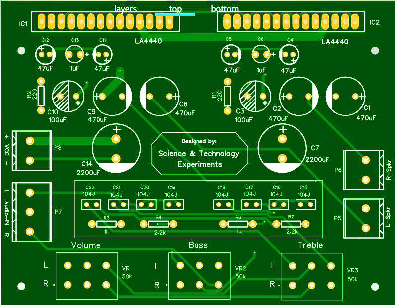 LA4440 Bass Amplifier DIY pcb front