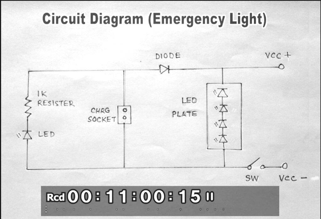 Rechargeable LED Light DIY circuit diagram