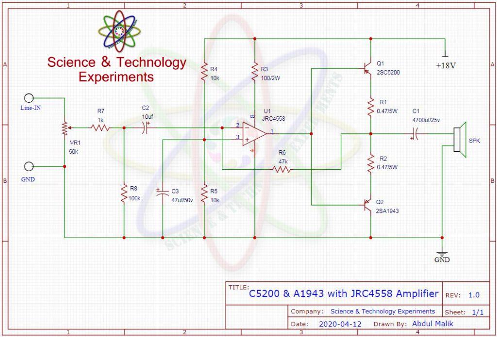 c5200 a1943 4558 amplifier circuit diagram